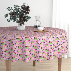 Geek Chic Round Tablecloth - Rainbow Robot Gears by robyriker - Geometric Cotton Sateen Circle Table Circular Tablecloths, Round Tablecloth, Round Dining Table, Kitchen Dining, Kitchen Furniture, Kitchen Tips, Fine Dining, Elegant Table, Tile Art