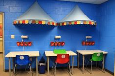 for special needs room...desks against wall to help concentration during lesson time