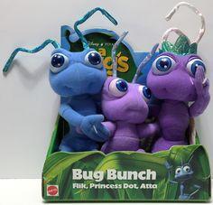 (TAS034887) - 1998 Mattel Disney Pixar A Bug's Life Stuffed Toys - Bug Bunch
