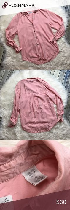 """Lord & Taylor Silk Blush Pink Button Up Blouse Gorgeous light blush pink silk button up blouse. Buttons on the cuffs. Gently used with no flaws. Loose fit. Such a pretty color! 100% silk.   Measurements laying flat (without stretching)— Armpit to armpit: 20""""  Length, shoulder to hem:  —Front: 25"""" —Back: 28.5"""" Lord & Taylor Tops"""