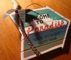 WELCOME TO PARADISE HAPPY HOUR Palm Tree Pelican Beach Tiki Bar Decor Sign NEW #Tropical
