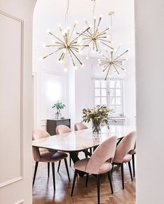 Dining room inspiration with a pink, gold and neutral color palette
