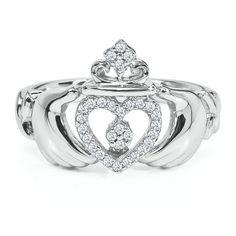 Diamond Claddagh Ring in Sterling Silver - Promise Rings - Rings - Jewelry - Helzberg Diamonds Diamond Claddagh Ring, Sterling Silver Diamond Rings, Claddagh Rings, Silver Diamonds, Diamond Jewelry, Jewelry Rings, Silver Jewelry, Jewellery, Glass Jewelry