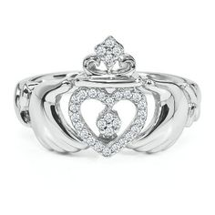 Absolutely in LOVE with this and the meaning! 1/10 ct. tw. Diamond Claddagh Ring in Sterling Silver available at #HelzbergDiamonds