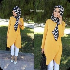 Yellow tunic and zebra hijab - check out: Esma Hijab Fashion 2016, Street Hijab Fashion, Abaya Fashion, Modest Fashion, Fashion Outfits, Hijab Style, Hijab Chic, Islamic Fashion, Muslim Fashion
