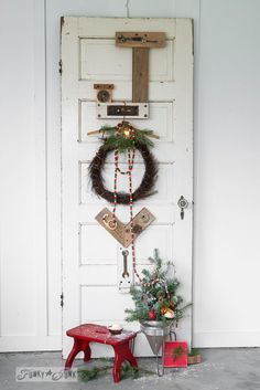 Junk for Joy reclaimed wood letters for Christmas, on Funky http://JunkInteriors.net #12days72ideas