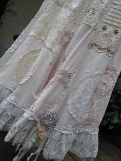 Come to kpopcity.net -- the biggest discount variety fashion store online!! skirts from vintage linens, calico and the softest blends... embellished with the contents of 'grammy's hope chest' ...