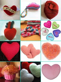 DIY dog toys to sew, crochet, or knit.  Lots of hearts, 2 tug toys, & a cute cupcake.