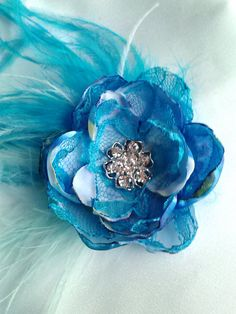 Ocean dream hair flower shades of blue wedding hair by faeryfloral, $20.00