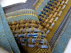 handwoven spring olive and blues symphony scarf