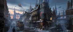 Concept Art Victorian Steampunk Town Morning Scene by Rowena Wang