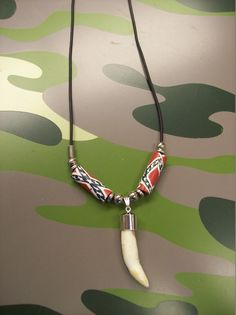 Real Alligator Tooth Necklace, Flag