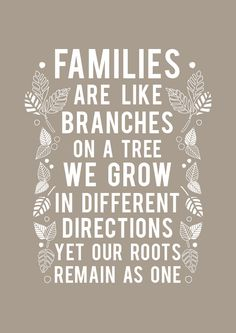 """Families are like branches on a tree. We grow in different directions yet our roots remain as one."""