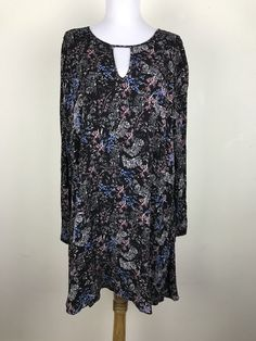Ethereal Dress Size L Shift Tent Floral Rayon Long Sleeve Black Pink Blue White  | eBay