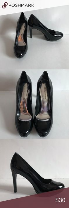 BCBGeneration Tinas Black Patent Leather Pumps -Brand: BCBGeneration -Condition: Shoes are in excellent pre-owned condition. Only worn once!  -Color: Black -Product Details: Classic round-toe pump is lifted by a wrapped stiletto heel and mini platform. This picture perfect pump is complete with a 4 inch heel and 1/4 inch platform. -Size Type: Regular -Size (Women's): 8 -MSRP: $90 -Style: Tinas BCBGeneration Shoes Heels