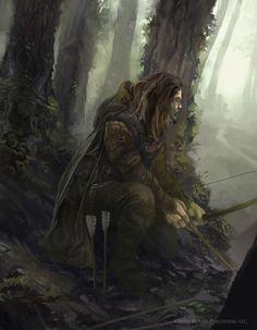 Las di Vallescura, padre di Tiron il mago - Half-elf ranger Salokin
