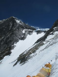 The view towards the summit from CIII with the Yellow Band, Geneva Spur, Balcony and South Summit in view