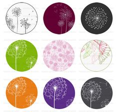 Dandelion, 1 inch Round Images Download, Digital Collage Sheet, Weddings, Baby Shower, Flowers, Cake Toppers, Sign, Bottle Caps s060