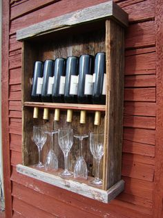This rustic wine cabinet. Upcycled ~ Recycled Pallet Wood into Wine & Glass Shelf Holder Dispense. Barn Wood Projects, Pallet Projects, Woodworking Projects, Diy Projects, Pallet Crafts, Wood Crafts, Wine Rack Wall, Wine Racks, Do It Yourself Baby