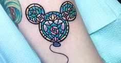 Tattoo Artist: Carla Evelyn. Tags: categories, Cartoon, Kawaii, Fictional characters, Disney Characters, Mickey Mouse, Animals, Rodent, Mice, Cartoon Characters, Games, Balloons. Body parts: Leg.