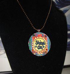 Shine On Modern Whimsical Pop Art UPcycled Poker Chip Pendant Necklace With Swarovski Crystal Bling