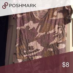 FINAL PRICE! New York & Co Camo tshirt Green/tan camouflage  short sleeve tshirt New York & Company Tops Tees - Short Sleeve
