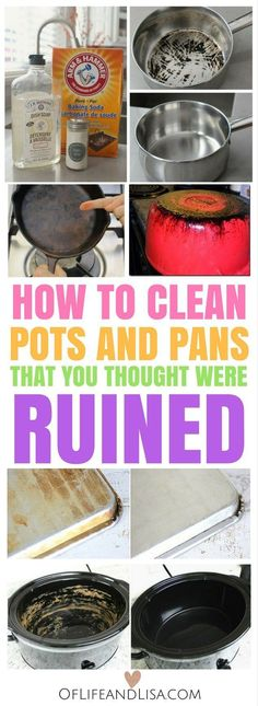 to Clean Those Pots and Pans That You Thought Were Ruined Learn how to clean baked on grease, burnt food and rust stains from your favorite pots and pans.Learn how to clean baked on grease, burnt food and rust stains from your favorite pots and pans. Deep Cleaning Tips, House Cleaning Tips, Cleaning Solutions, Spring Cleaning, Cleaning Hacks, Cleaning Burnt Pans, Cleaning Products, Cleaning Recipes, Clean Pots