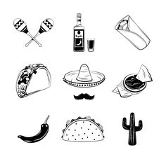 Excited to share the latest addition to my #etsy shop: Mexican food set SVG | Tacos, Burrito, Nachos, Cactus, Maracas, Chili pepper, Tequila | Mexican cuisine | Vector | Digital cutting file https://etsy.me/2x5qpGx #art #drawing #black #white #mexicanfoodsetsvg #tacos