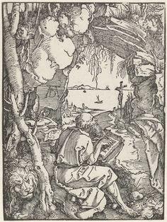 Albrecht Dürer | De Heilige Hiëronymus schrijvend in een grot, Albrecht Dürer, 1512 | De Heilige Hiëronymus zit in een grot te schrijven. Achter hem staat een leeuw. Door de opening van de grot is een stadje aan een baai te zien.