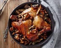 Cuisses de poulet flambées aux champignons et lardons
