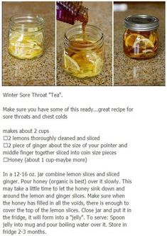 DIY All-natural Sore Throat Remedy. Since you would be adding boiling water to this I wouldn't use raw honey. Winter Sore Throat Tea Store it in your fridge! chilly influenza treatments natural treatments, Signs & Signs and symptoms as well as exactly how Flu Remedies, Herbal Remedies, Natural Medicine, Herbal Medicine, Cough Medicine, Sore Throat Tea, Nutrition, Natural Health Remedies, Kraut