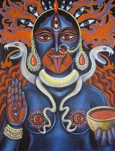 Kali Ma by Vera Kereszteny #kali #ma #mata #mahakali #sacred #portrait #hindu #earth #goddess #shakti #spiritual #art #skulls #snake #serpent #divine #spirit #allseeingeye #eyes #pastel #drawing