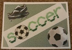 football cross stitched card!
