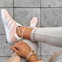 RG: @lissyroddyy in @adidasoriginals Gazelle in vapour pink. Get ready for the re-stock! #officeloves #regram #pastels