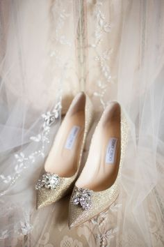 Sparkly Shoes with Crystal Details  Photography: Nancy Cohn Photography Read More: http://www.insideweddings.com/weddings/destination-wedding-with-white-gold-color-palette-in-palm-beach/1028/