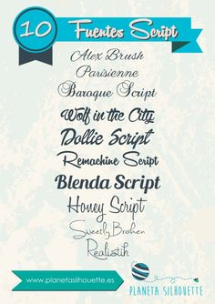 Fuentes tipo script - Planeta Silhouette Script Fonts, Typography Fonts, Cameo Vs Cricut, Tatto Name, Computer Font, Editing Writing, Silhouette Portrait, Silhouette Cameo Projects, Police