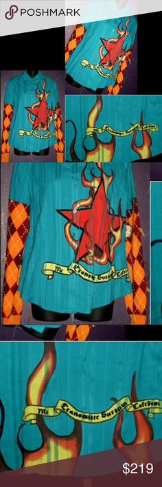 RAW 7 Blue Star Argyle Cashmere Button Up Shirt L For the rocker in you...No longer available in stores!  Super rare and hard to find button up shirt with cashmere sweater sleeves from Raw 7!  Geek chic line, with fire star design, and argyle print on contrasting maroon sleeves.  Cutting edge and bold, RAW 7 couture designs have revamped cashmere from traditional to avant-garde and street-chic.  Retail 279 Raw 7 Tops Button Down Shirts