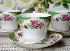 """Vintage Paragon Teacup Duo Pattern """"Rockingham"""" English Fine Bone China Cabinet Tea Cup Floral Tea Cup Mid Century Shabby Chic China by AntiqueBoutiqueIdeas on Etsy"""