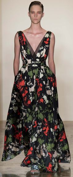 Peter Som Sp 2015 Red, white, green, black floral gown