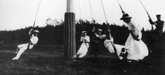 Three of the Grand Duchesses and 3 officers from the Standart playing on swings during a stop on the family's cruise in the Gulf of Finland, 1914.  I believe 1914, the year WWI began, was the last year the Imperial Family cruised on the Standart.