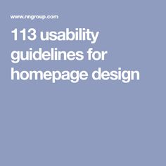 113 usability guidelines for homepage design