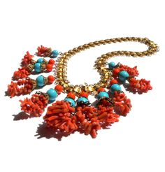 Necklace Miriam Haskell Vintage Spezzati Coral Glass & Brass 1930s