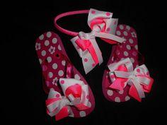 Pink poka dots Flip flops & Headband by GrandmasBowsonETSY on Etsy, $20.00