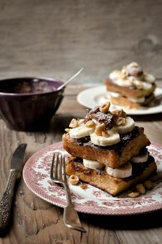 Banana and Chocolate Stacked French Toast