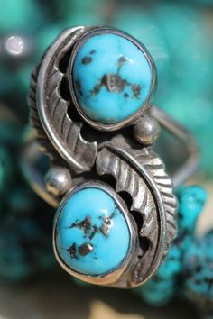 Vintage Signed Southwestern Sterling Silver Turquoise Ring Dale Anderson