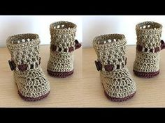 How to Crochet Cuffed Baby Booties - Crochet Ideas Crochet Baby Pants, Crochet Baby Blanket Beginner, Crochet Baby Bonnet, Crochet Boots, Crochet Mittens, Crochet Baby Booties, Crochet Slippers, Knit Crochet, Bunny Slippers