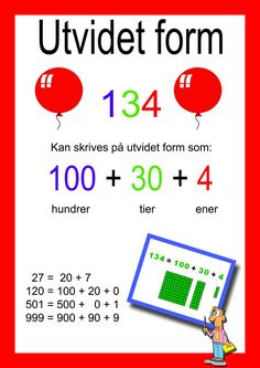 Ida_Madeleine_Heen_Aaland uploaded this image to 'Ida Madeleine Heen Aaland/Plakater og oppslag'. See the album on Photobucket. Danish Language, Numicon, Place Values, Too Cool For School, Math Worksheets, My Job, Teaching Math, Holidays And Events, Second Grade