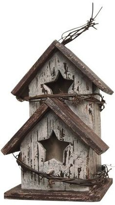 Birdhouse - Antique White with 2 Star Cutouts - Country Rustic Primitive Wood Decor Generic http://www.amazon.com/dp/B00B5NH1KI/ref=cm_sw_r_pi_dp_P9Tjub1RR6R5Q