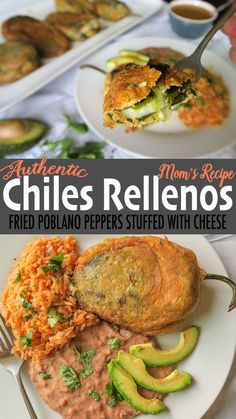 These Authentic Chiles Rellenos are egg-battered poblano peppers stuffed with a blend of white cheeses & onion, and pan fried for a crispy golden crust! Authentic Mexican Recipes, Mexican Dinner Recipes, Mexican Dishes, Mexican Desserts, Stuffed Chili Relleno Recipe, Rellenos Recipe, Vegetarian Recipes, Cooking Recipes, Cooking Tips