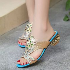 Women Summer Beach Sandals Rhinestone Slip On Sandals Platform Sandals - Banggood Mobile
